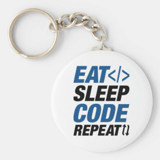 Eat Sleep Code Repeat Basic Round Button Keychain