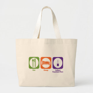 Eat Sleep Collect Fountain Pens Large Tote Bag