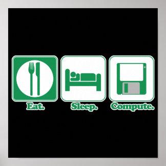eat sleep computer (green) poster