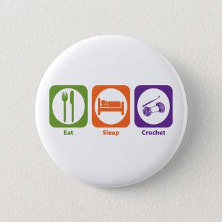 Eat Sleep Crochet 2 Inch Round Button