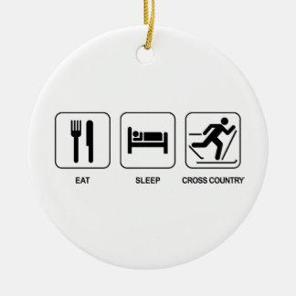 Eat Sleep Cross Country Ceramic Ornament