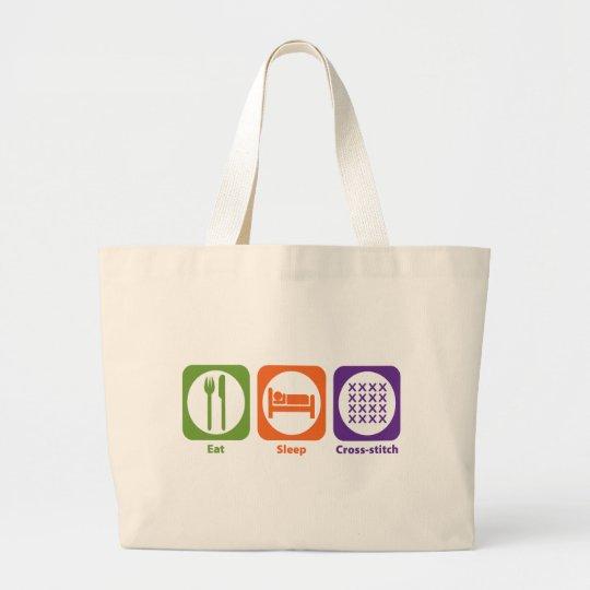 Eat Sleep Cross-stitch Large Tote Bag