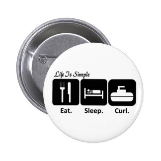 Eat, Sleep, Curl 2 Inch Round Button