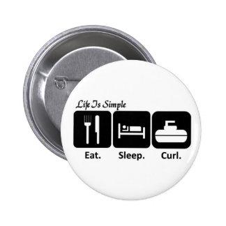 Eat, Sleep, Curl 2 Inch Round Button