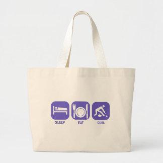 Eat Sleep Curl Large Tote Bag