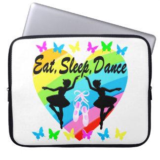 EAT, SLEEP, DANCE RAINBOW HEART AND BUTTERFLIES LAPTOP SLEEVES