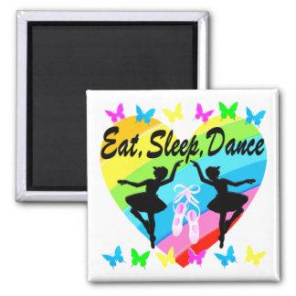 EAT, SLEEP, DANCE RAINBOW HEART AND BUTTERFLIES SQUARE MAGNET