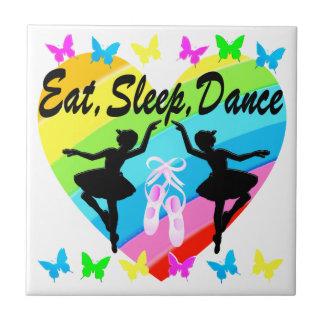 EAT, SLEEP, DANCE RAINBOW HEART AND BUTTERFLIES TILES