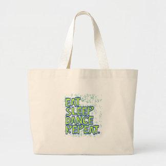 eat sleep dance repeat large tote bag