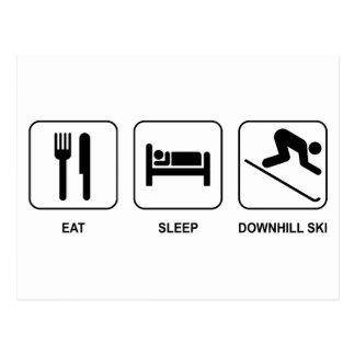 Eat Sleep Downhill Ski Postcard