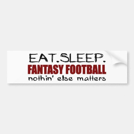 Eat Sleep Fantasy Football Car Bumper Sticker