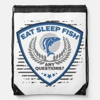 Eat Sleep Fish Any Questions Fishing Drawstring Bag