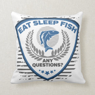 Eat Sleep Fish Any Questions Fishing Throw Pillow