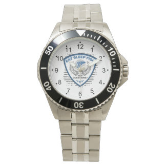 Eat Sleep Fish Any Questions Fishing Wrist Watch