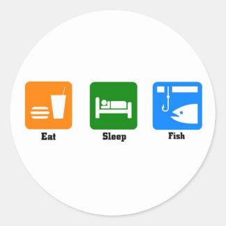 Eat sleep fish classic round sticker