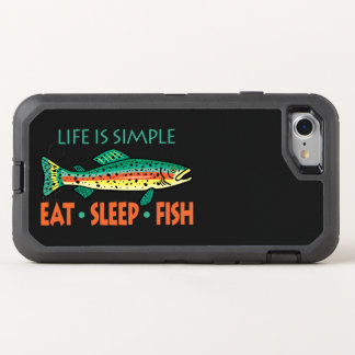 Eat Sleep Fish - Funny Saying OtterBox Defender iPhone 7 Case