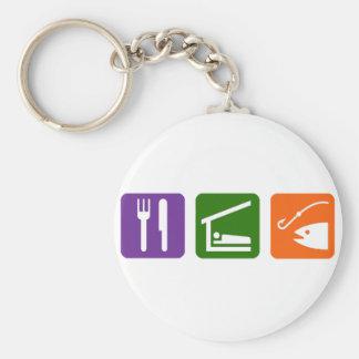 Eat Sleep Fishing Basic Round Button Keychain