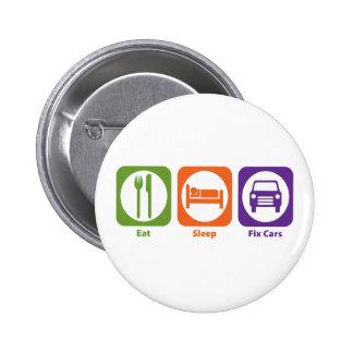 Eat Sleep Fix Cars 2 Inch Round Button