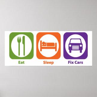 Eat Sleep Fix Cars Poster