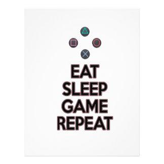 Eat sleep game repeat letterhead