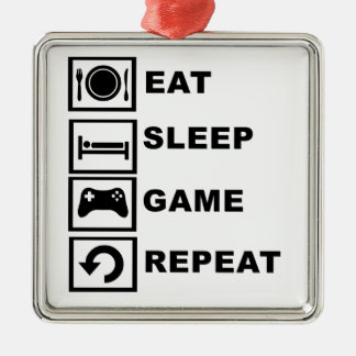 Eat, Sleep, Game, Repeat. Metal Ornament