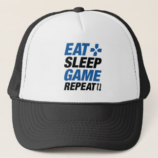 Eat Sleep Game Repeat Trucker Hat