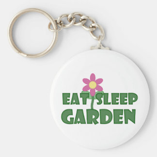 Eat Sleep Garden Basic Round Button Keychain