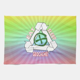 EAT SLEEP GEOCACHE - DO IT AGAIN HAND TOWEL