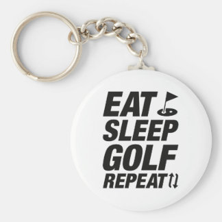 Eat Sleep Golf Repeat Basic Round Button Keychain