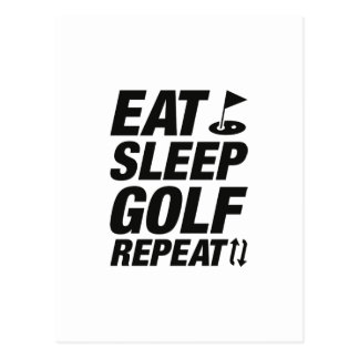 Eat Sleep Golf Repeat Postcard