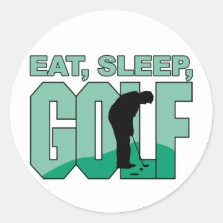 Eat Sleep Golf Round Sticker