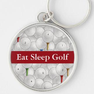 Eat Sleep Golf Silver-Colored Round Keychain