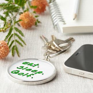 Eat. Sleep. Golf. Silver-Colored Round Keychain