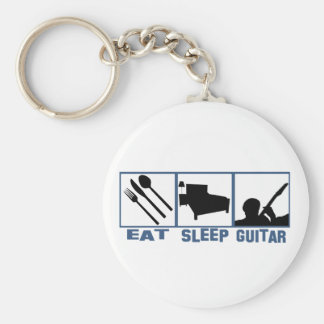 Eat Sleep Guitar Basic Round Button Keychain