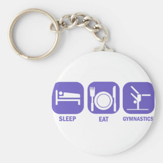 EAT SLEEP GYMNASTICS BASIC ROUND BUTTON KEYCHAIN