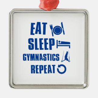 Eat sleep gymnastics metal ornament