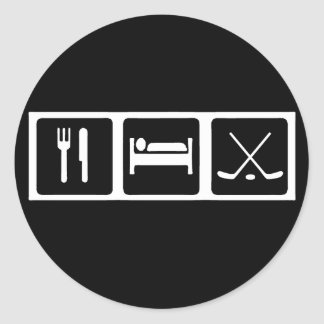 Eat, Sleep, Hockey Round Sticker