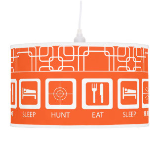 Eat Sleep Hunt Orange Man Cave Hunters Lodge Pendant Lamp