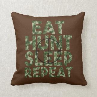 Eat Sleep Hunt Repeat camo pillow