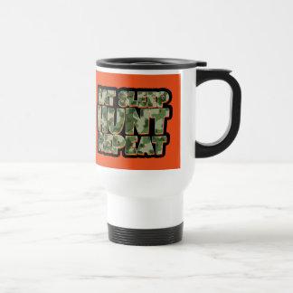 Eat Sleep Hunt Repeat Orange Travel Mug Mens