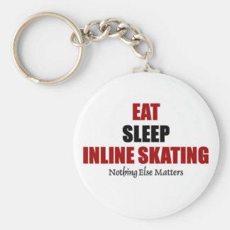 Eat sleep inline skating basic round button keychain