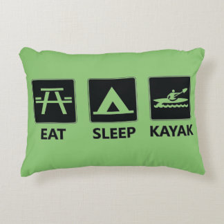 Eat Sleep Kayak Decorative Pillow