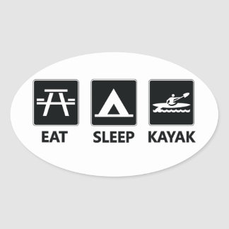 Eat Sleep Kayak Oval Sticker