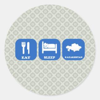 Eat Sleep Kazakhstan Classic Round Sticker