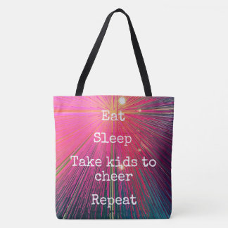 """Eat. Sleep. Kids to Cheer. Repeat."" quote pink Tote Bag"