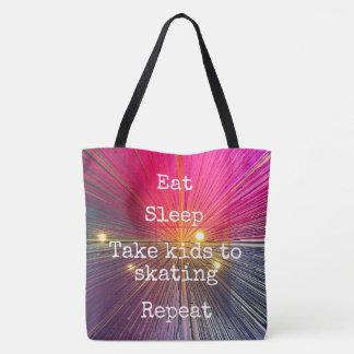 """Eat. Sleep. Kids to Skating. Repeat."" quote pink Tote Bag"
