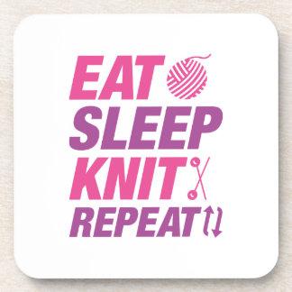 Eat Sleep Knit Repeat Beverage Coaster