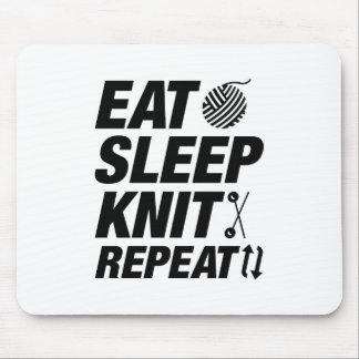 Eat Sleep Knit Repeat Mouse Pad