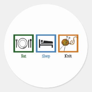 Eat Sleep Knit Round Sticker