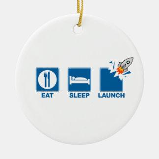Eat Sleep Launch Ceramic Ornament